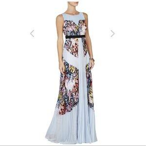Kayda Halter-Neck Pleated Print-Blocked Gown